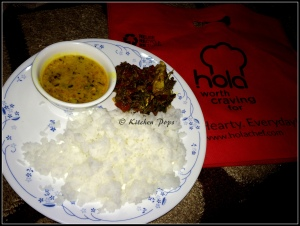Ajwain Fish, Dal fry and rice1