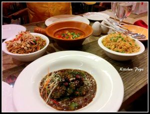 San Tung Noodles, Mongolian Vegetables Hotpot, Vegetable Bon Bon Rice  and •Spinach Dumplings
